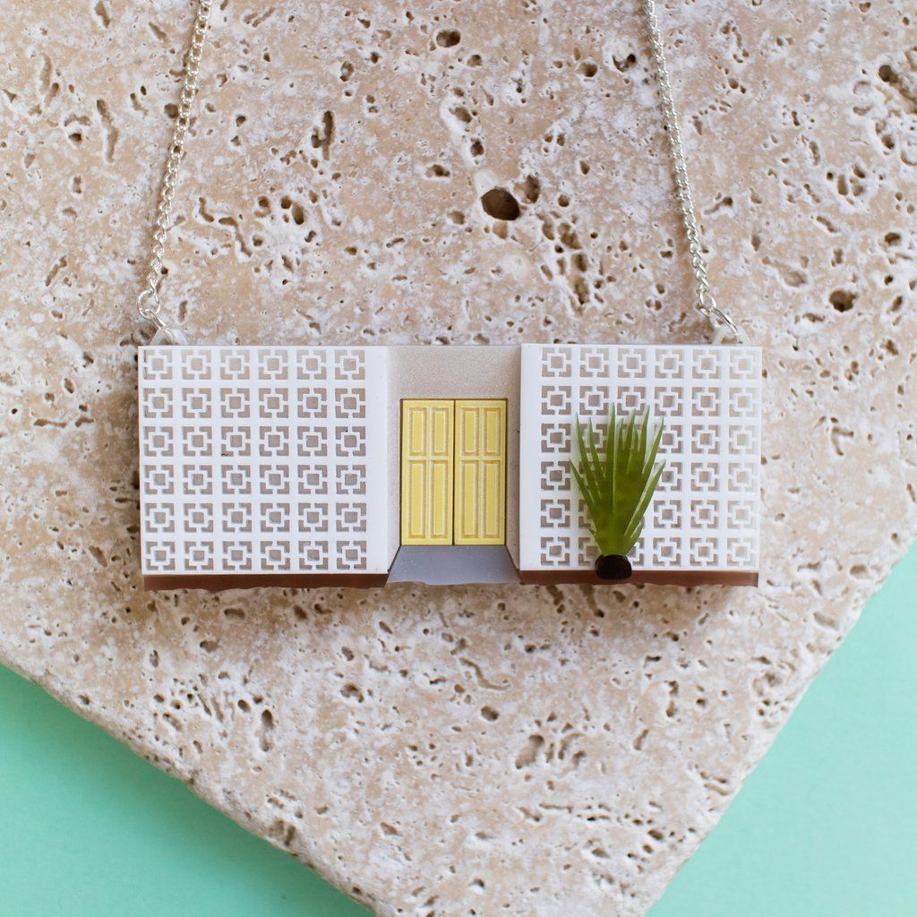 Palm Springs Mid-Century Block Wall Necklace