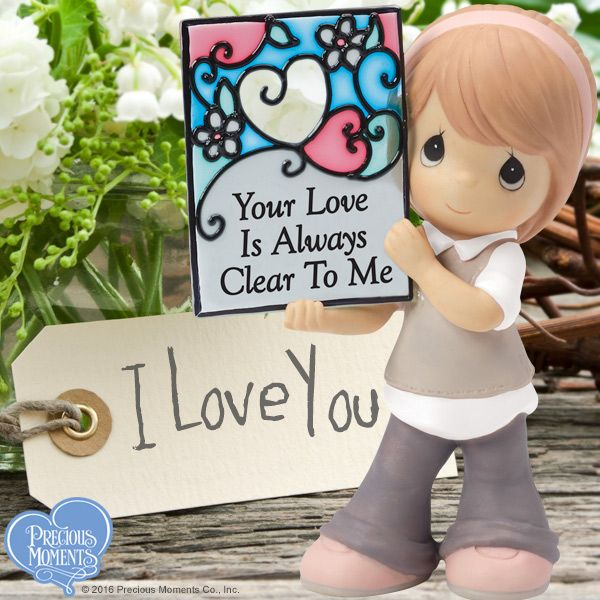 "We know. We smiled when we saw this little darling in bell-bottoms too. We just can't resist sharing the love around here! We hope that you know that God's love for you is as clear as a bell and that it rings through every moment of your life. (That stained glass is even cuter in ""real life"" by the way!) #PreciousMoments #LifesPreciousMoments #Love"