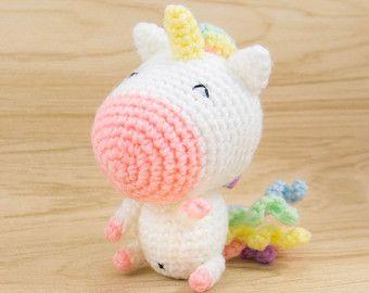 Amigurumi Unicorn : Fluffy rainbow unicorn stuffed animal by hookyarnandhooper