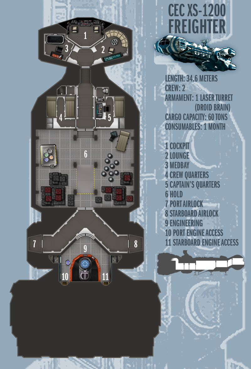 Deckplans For A Freetrader Vessel From The Dark Nova Role Playing Game Based On The Sparrowhawk Rendered By Star Wars Ships Star Wars Spaceships Star Wars