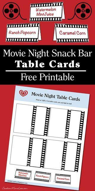 Movie Night Snack Bar Table Cards {Free Printable}
