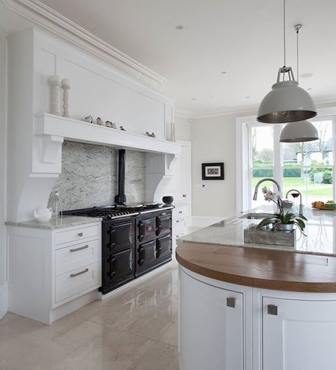 Black Aga In A Gorgeous Kitchen Kitchen Pinterest Mantles Islands And White Kitchens