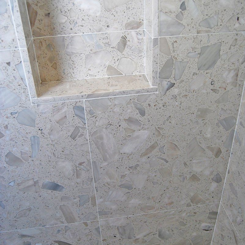 Terrazzo Shower Field White Grey Big Chip Aggregate