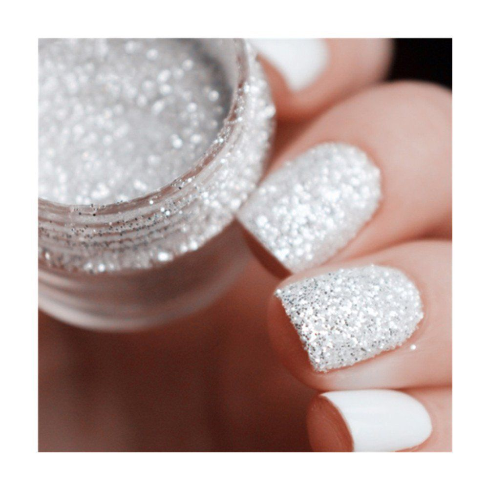 Born Pretty 10ml Box Nail Glitter Tips White Silver Powder 1mm and 2mm and  3mm Mixed Manicure Nail Art Decoration 6 Patterns     More info could be  found at ... aa77a3e9e071