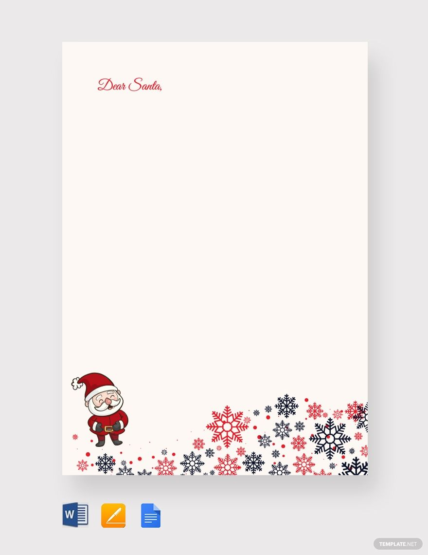 Free Santa Christmas Letter Template Word Doc Apple Mac Pages Google Docs Christmas Letter Template Christmas Lettering Santa Letter Template