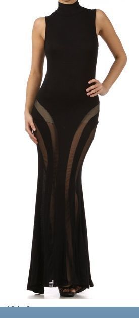 Turtle Neck Maxi Dress With Opening in the Back And Mesh Lines
