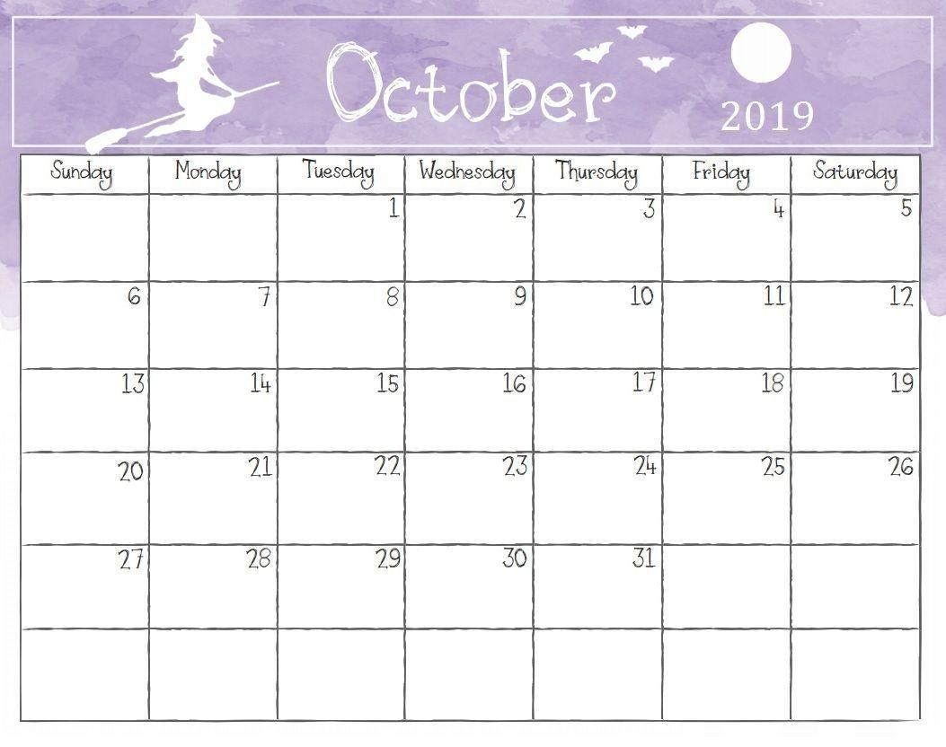 Watercolor October 2019 Calendar October Oct2019 October2019