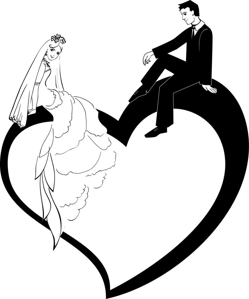 bride and groom gallery for clip art bride silhouette [ 853 x 1024 Pixel ]