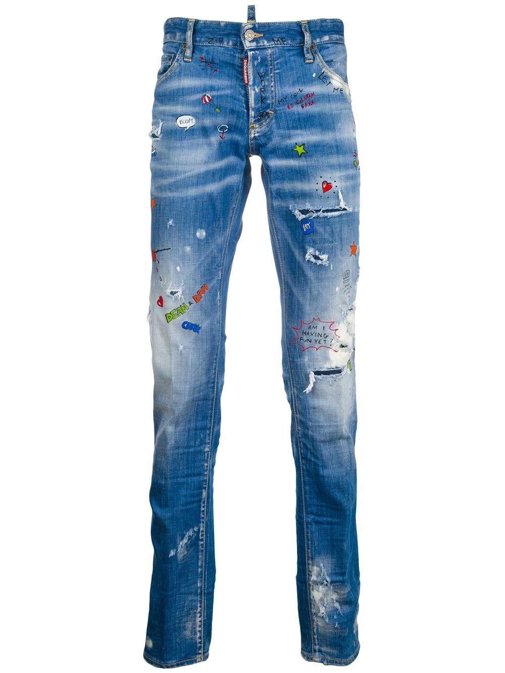 5b63c2c8 Dsquared2 slim graffiti distressed jeans | ReViVaList DeNiM in 2019 ...