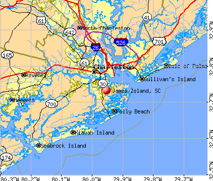 Highway Map of Eastern Seaboard of US showing James Island