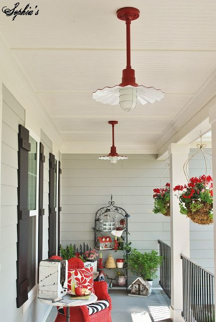 Cute Red Porch Lights House With