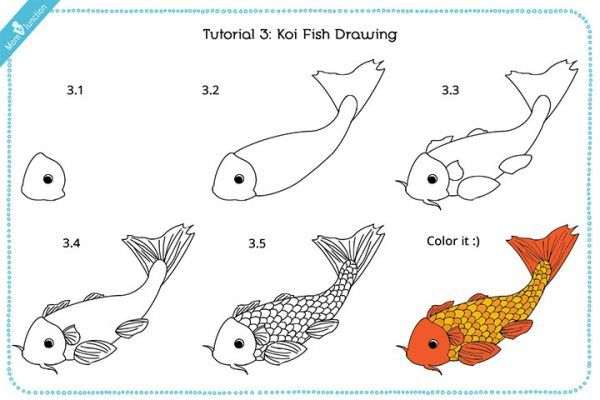 Koicoy Fish Drawing for kids With Images Projects with rocks