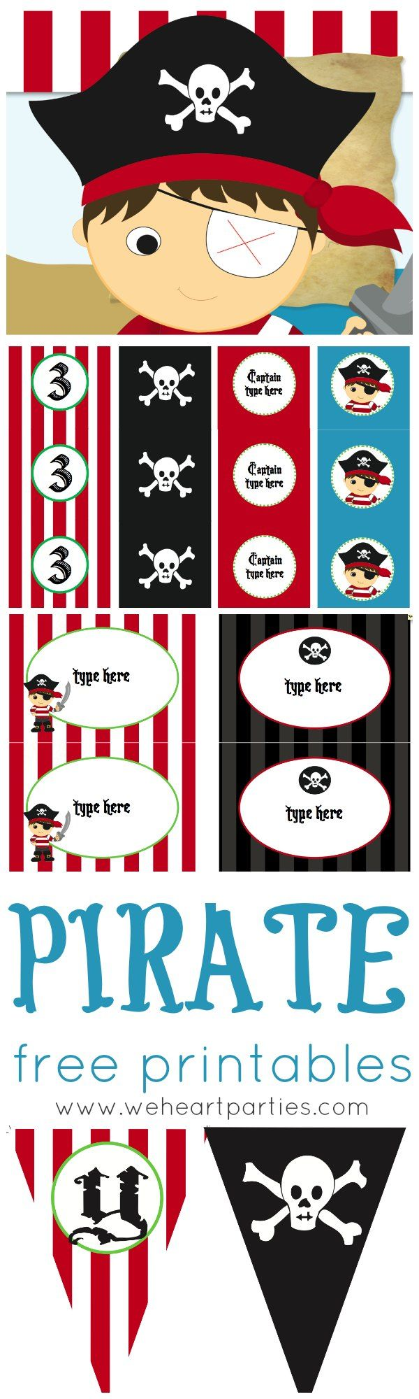 photograph about Pirate Party Printable identified as No cost Pirate Occasion Printables (editable with childs track record and