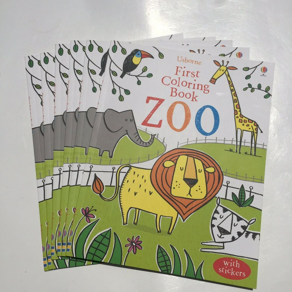 Coloring Books With Stickers Usborne First Coloring Book Zoo Lot Of 6 Coloring Books Christmas Coloring Books Kids Coloring Books