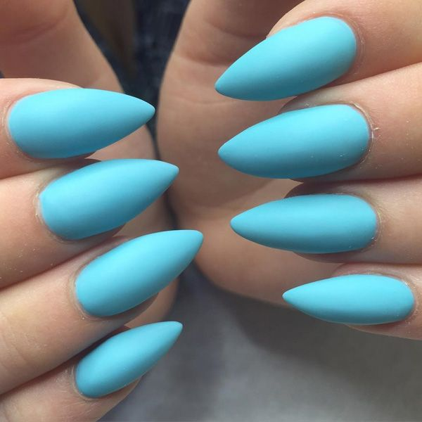 The sky blue color on the nails, and no need for any additional details. - 50+ Almond Nail Designs Blue Colors, Sky Blue Nails And Nail Art
