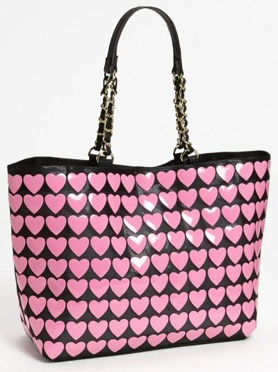 dabe45a43709 Betsy Johnson Tote featuring pink hearts on a black background ...