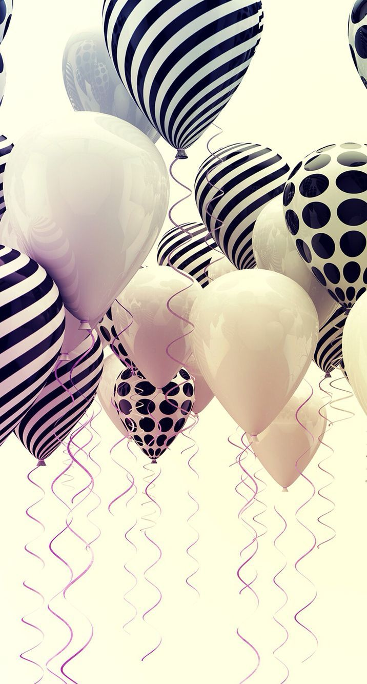 Happy Birthday Jacqueline Black And White Balloons Iphone Background Iphone Wallpaper