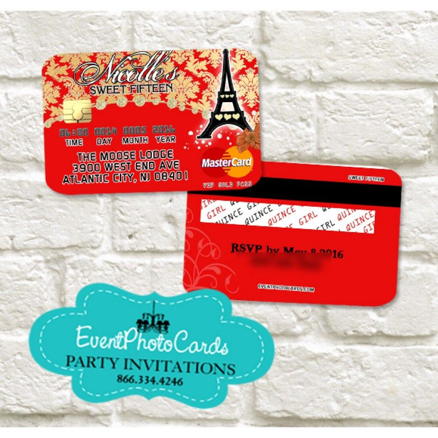 Paris Credit Card Red Gold Quinceanera Invitations Paris