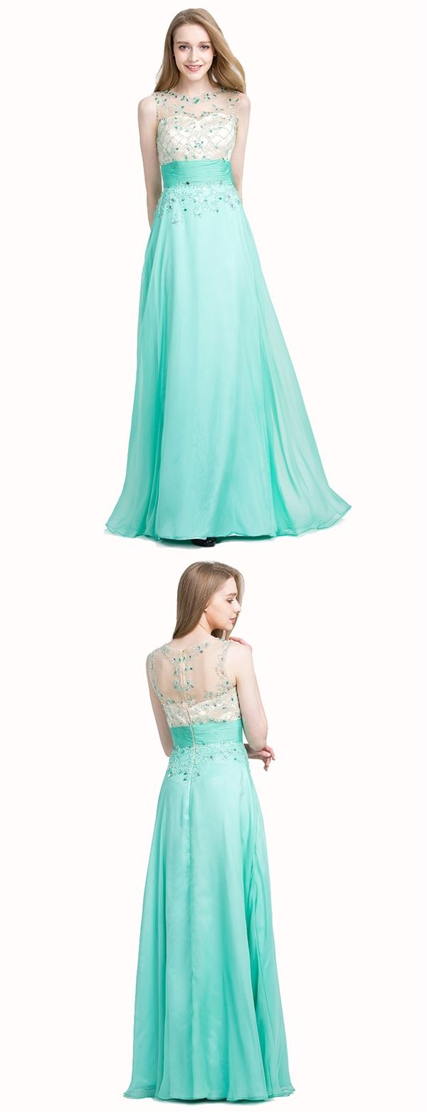 Turquoise Illusion Jewel Floor-Length Prom Dress with Beading Ruched ...
