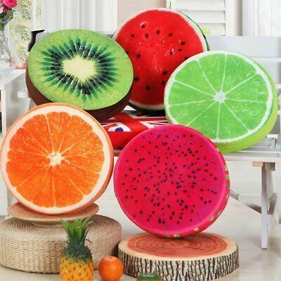 Cute Soft Round Pillow Plush Cushion Orange Kiwi Watermelon Fruit Toy Seat Pad #...