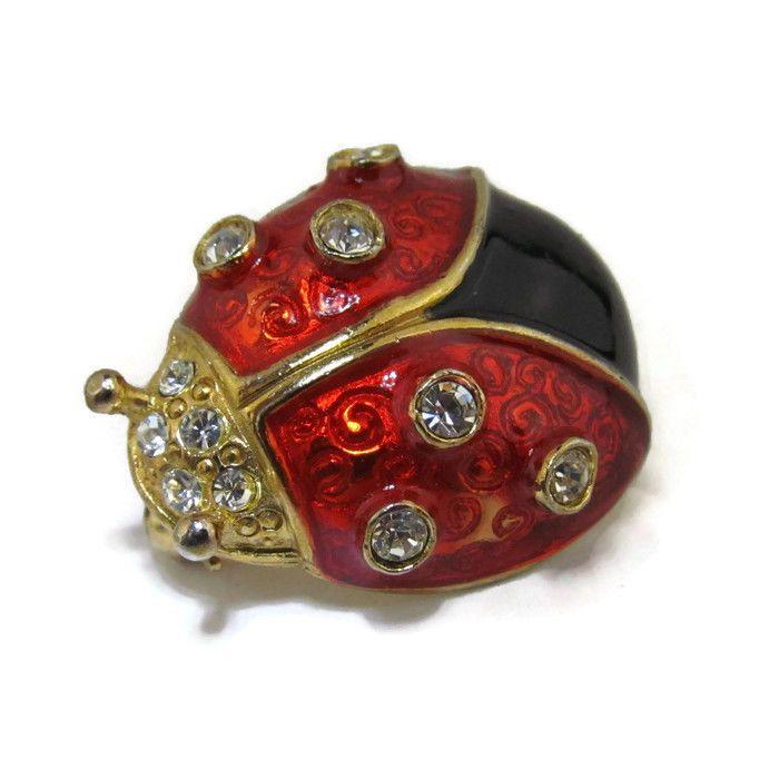 Red Enamel Ladybug Brooch (Silver Tone) mNzVBG
