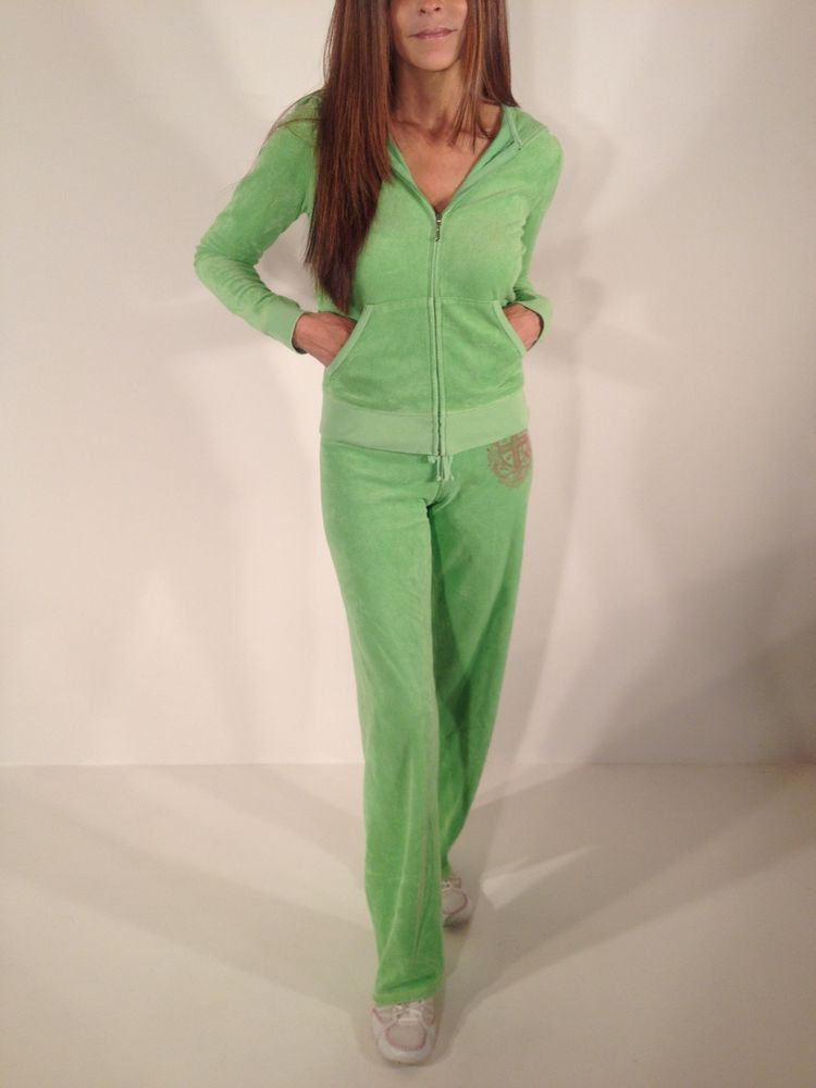 Women's Plush Bright Green Rhinestone Juicy Couture Track Suit Size Small  #JuicyCouture #TrackSuit #Loungewear