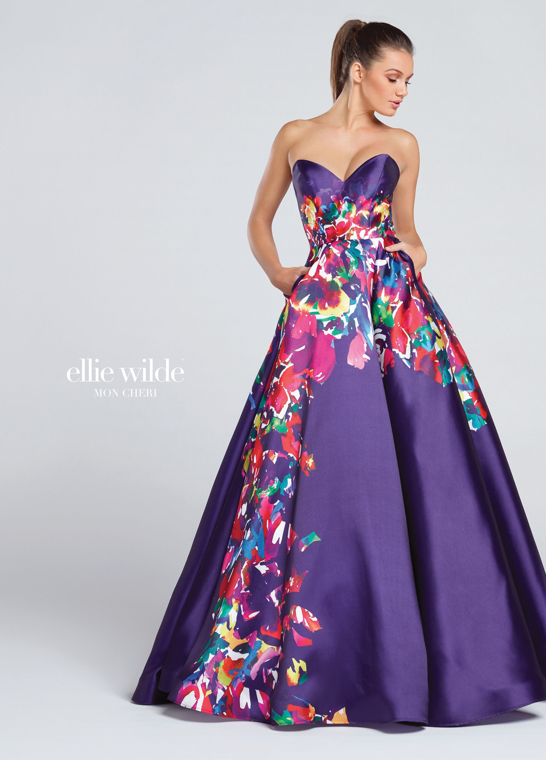 Strapless Signature Print Mikado Full A-Line Prom Dress - EW117003 ...