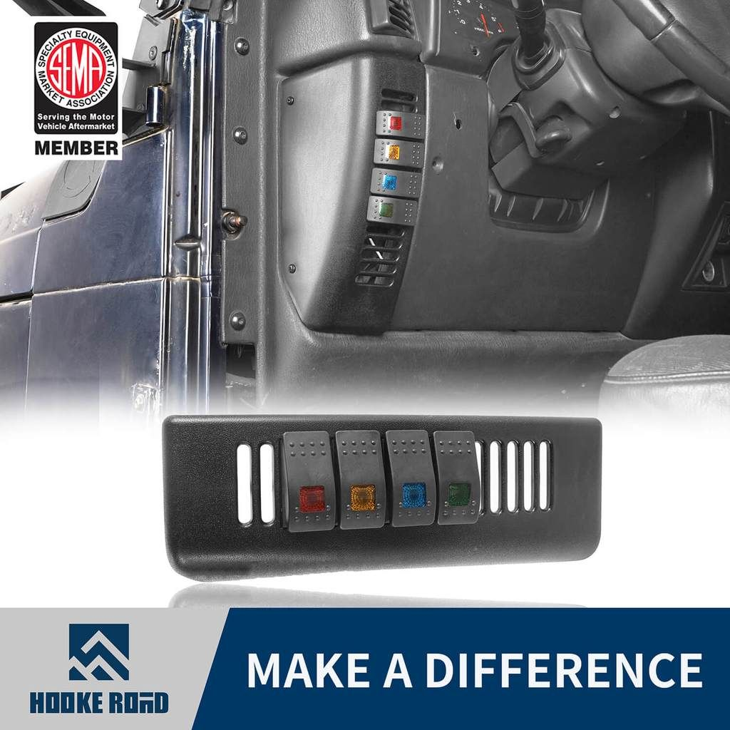 Hooke Road 4 Switch Pod Panel Kit Driver Side Jeep Wrangler Tj 97 06 Jeep Wrangler Tj Jeep Jeep Wrangler