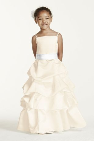 ea01cf05d19 Satin spaghetti strap dress with pick-up skirt. Sizes 2T-14. Plus sizes  available in 8+ through 14+ in White and Ivory. Shown wearing Sash Style  S1041