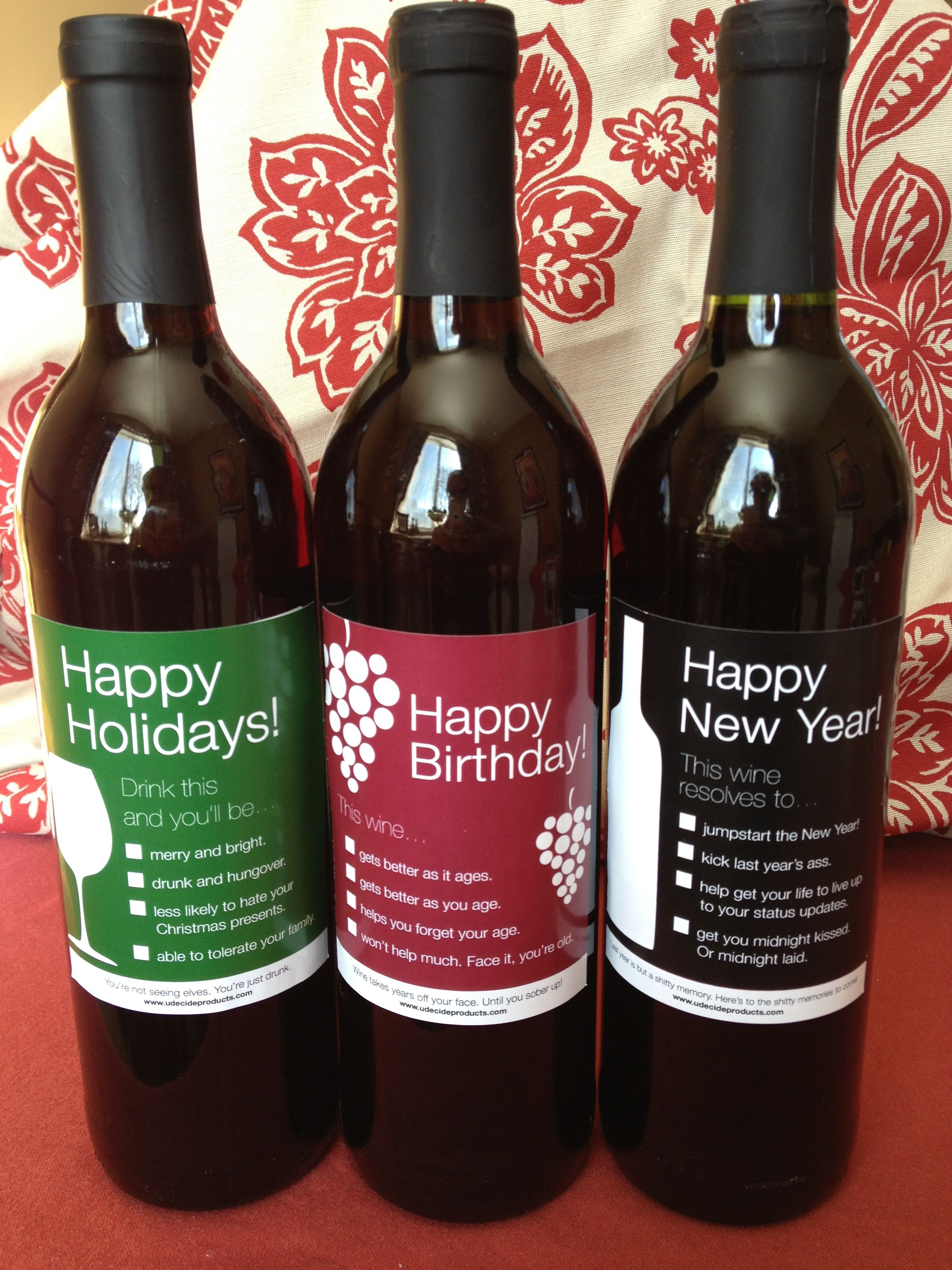 Udecideproducts Funny Wine Bottles Funny Wine Bottle Labels Holiday Wine Bottle Labels