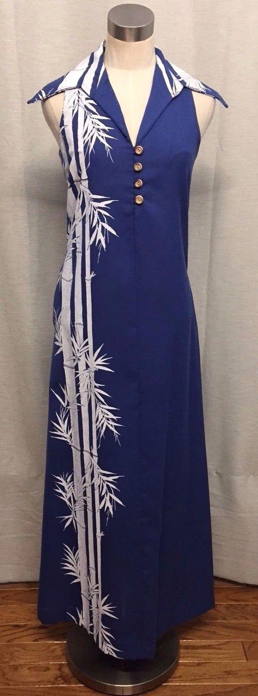 Awesome amazing sidan hawaii vtg dress maxi cut in shoulders blue