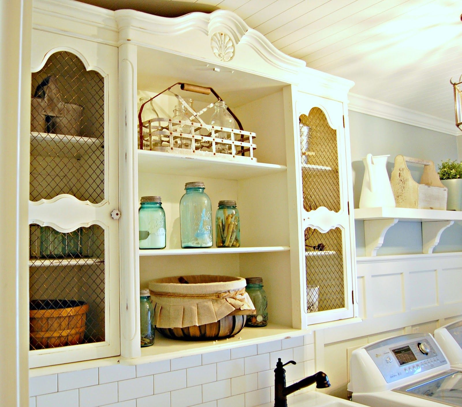 Upcycled hutch top mounted to the wall instead of stock cabinets. So ...