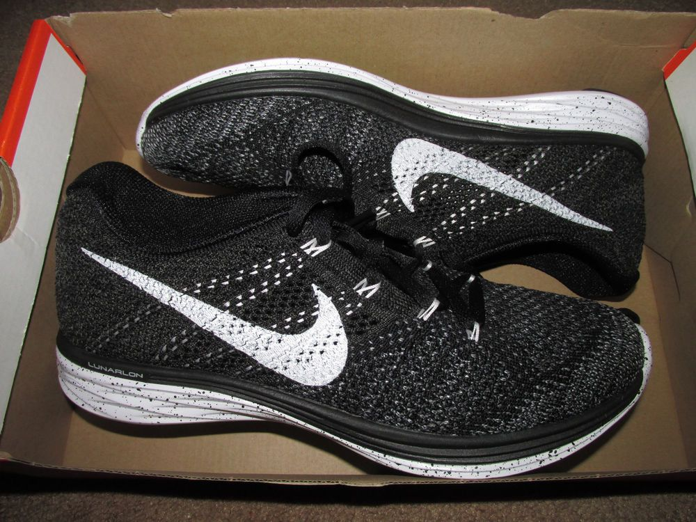 Nike Flyknit Lunar3 Womens Running Shoes 7 5 Black White 698182