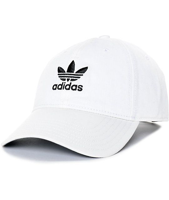 3a007cf844a44 The white adidas strapback hat features a classic curved bill with grey  underside