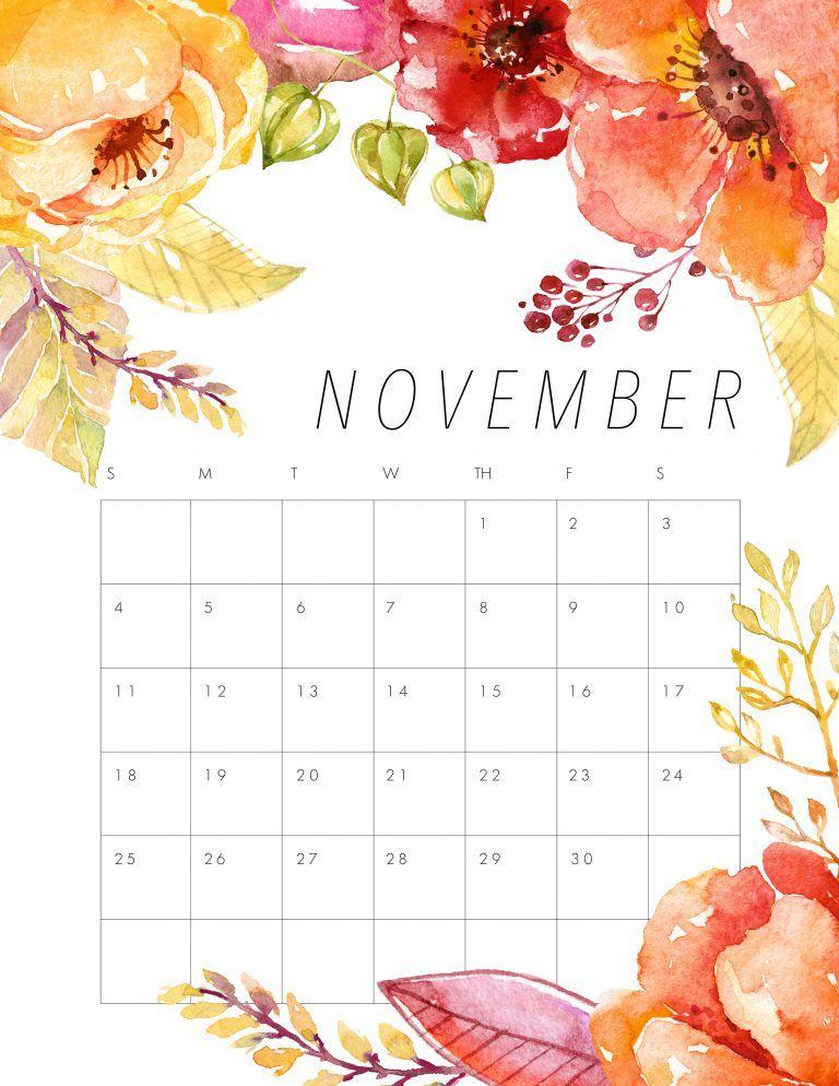 free printable november 2018 calendar