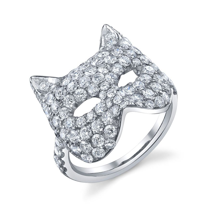 Diamond Cat Mask Ring From Anita Ko