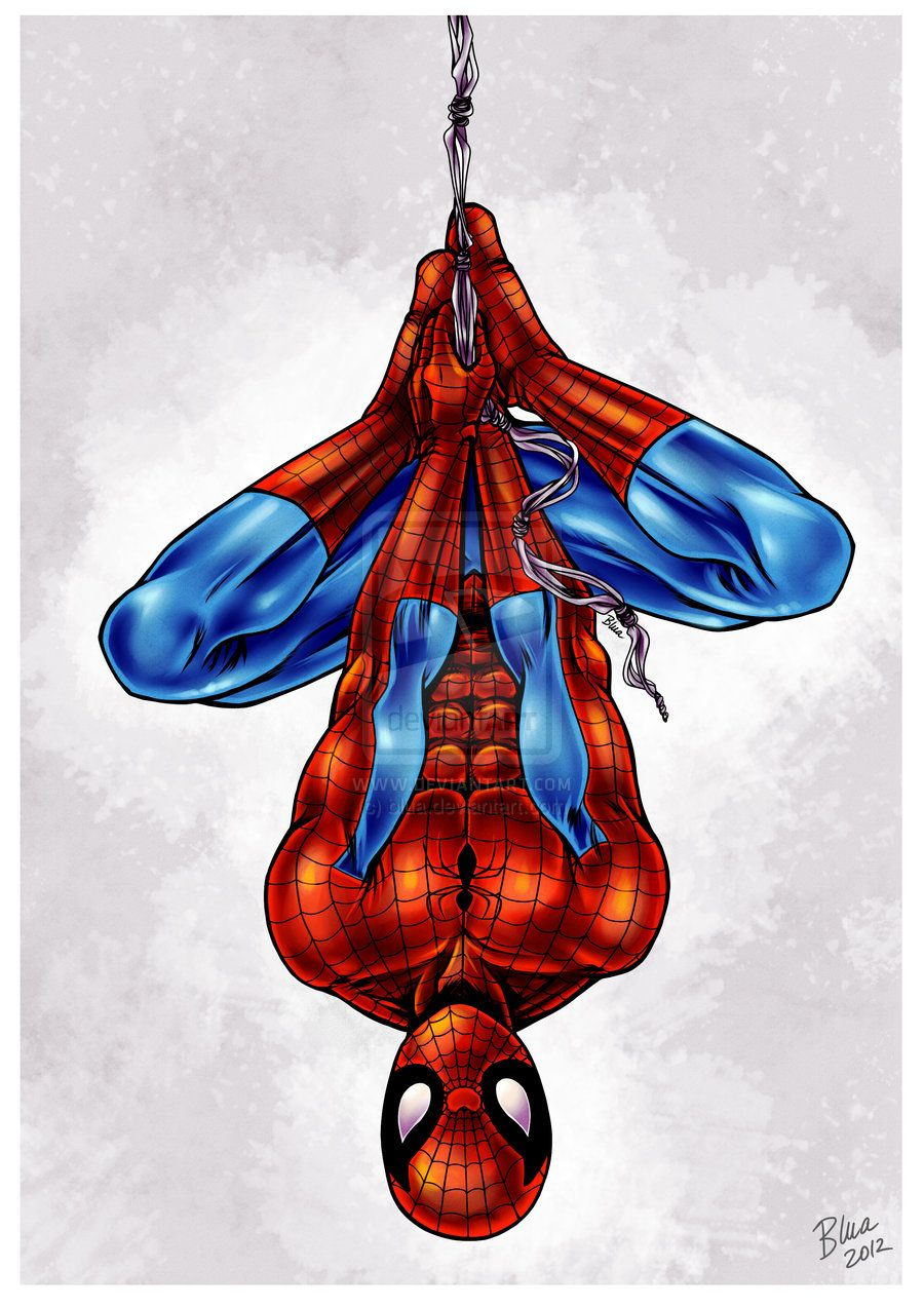 Spiderman upside down. Partytjie drawing