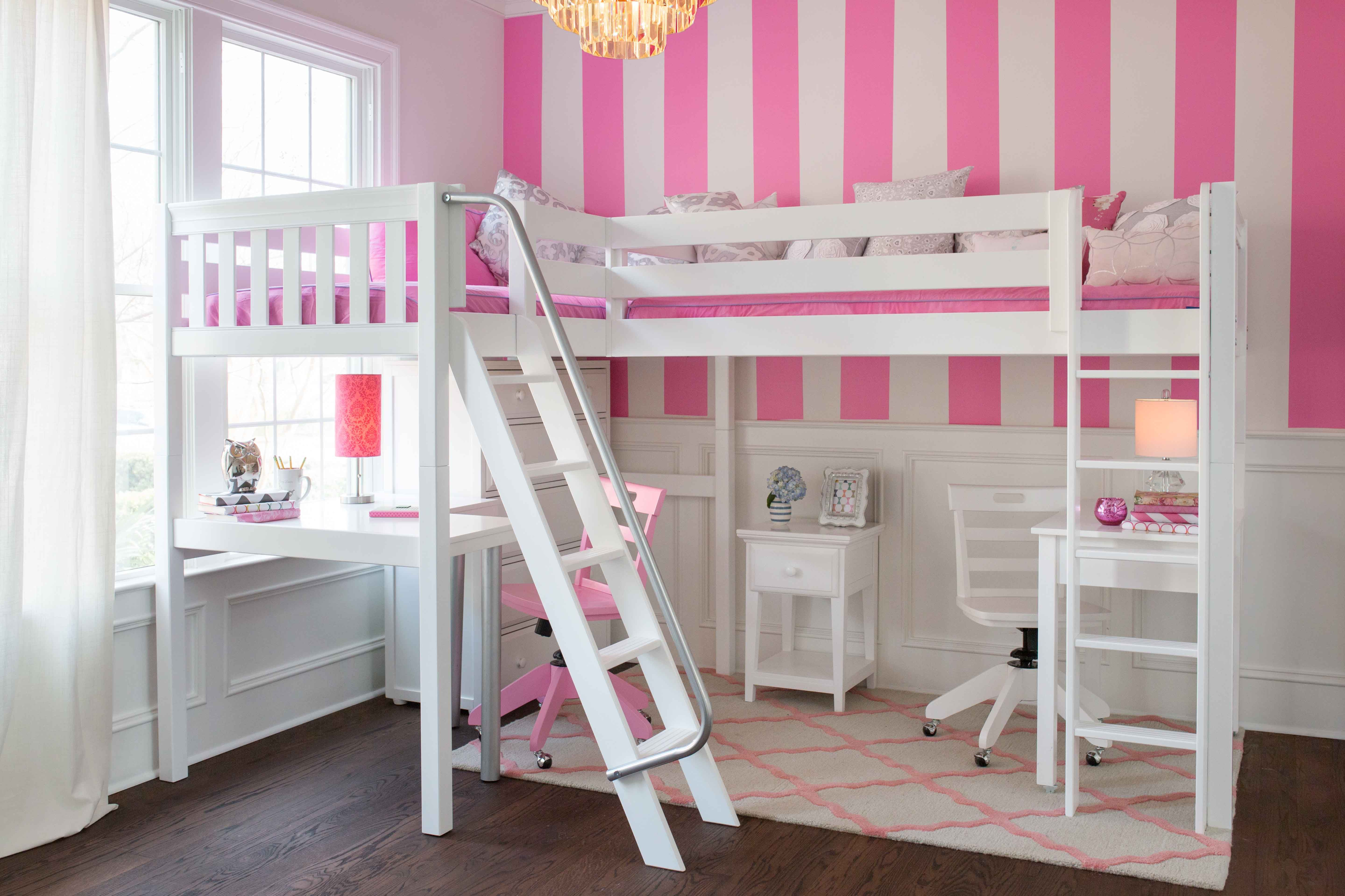 Corner Loft Bed With Two Desks Better Alternative To Bunk Bed Since You Open Up More Floor Space You Get 2 Study Area U Corner Loft Beds Corner Loft Loft Bed