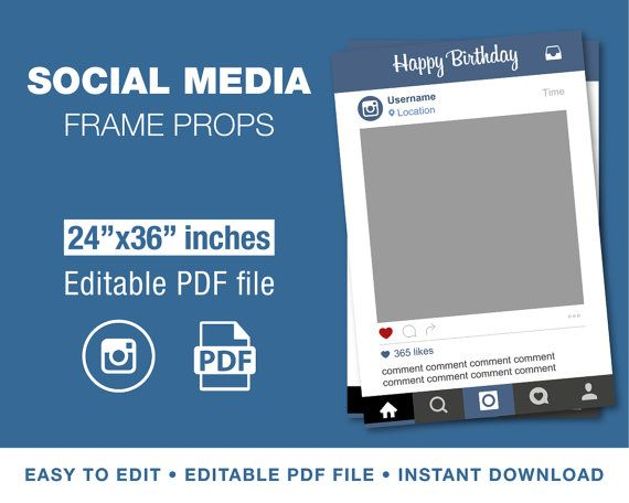 24 Quot X36 Quot Instagram Style Photo Prop Frame Template For Pdf Editable File Instant Downloa Photo Frame Prop Instagram Frame Template Instagram Props