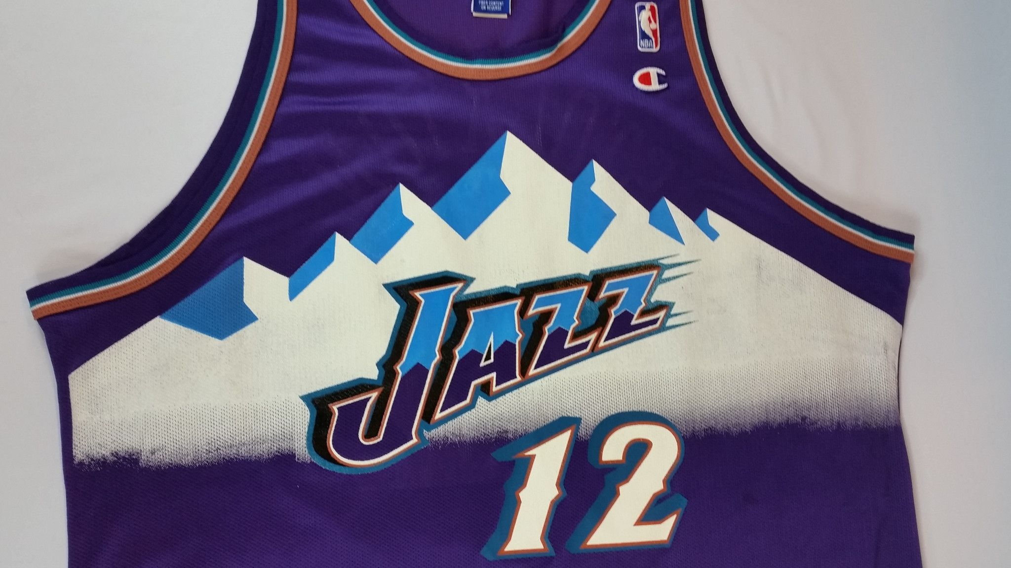 John Stockton Champion Jersey NBA Utah Jazz Alternate Mountain RARE Malone  sz 52 79e64d7dc