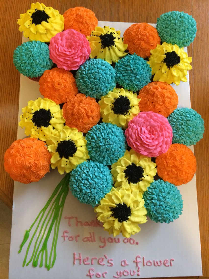 Teacher appreciation cupcake flower bouquet birthday brunch