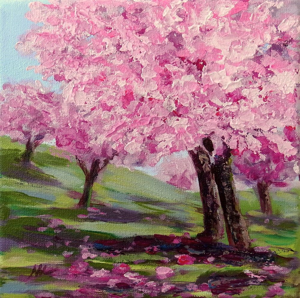 Cherry Tree Blossom Pink Tree Painting Mini Tiny Painting Etsy Tree Painting Painting Poppy Field Painting