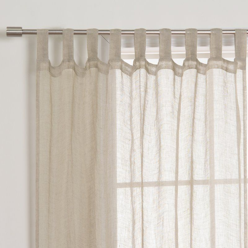 Hosteen French Linen Solid Room Darkening Tab Top Single Curtain