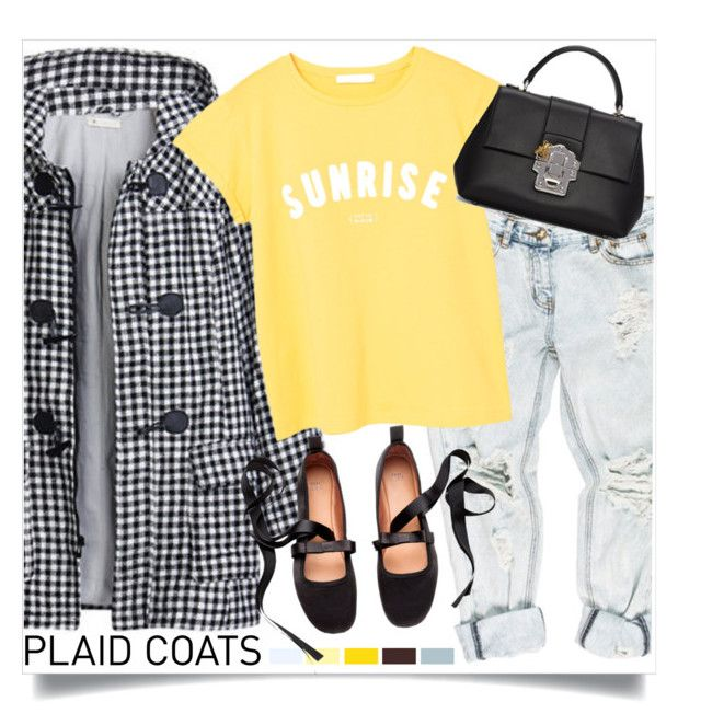 """Sunrise"" by mmk2k ❤ liked on Polyvore featuring OneTeaspoon, MANGO, Dolce&Gabbana, coat and plaidcoats"