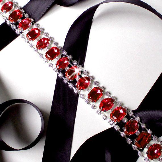 Unique Wedding Dress Sashes Belts: Statement Red Rhinestone Wedding Dress Sash Custom By