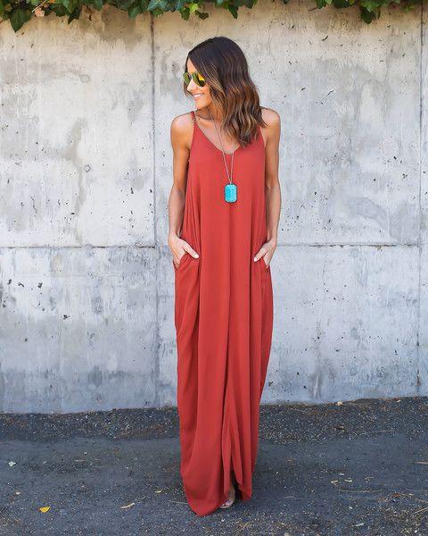4c412819e0 Rust Olivian Maxi Dress | Dresses | Long summer dresses, Cute maxi ...