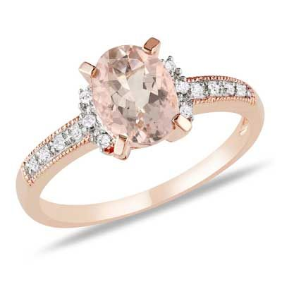 Oval Morganite and Diamond Accent Engagement Ring in Rose Rhodium