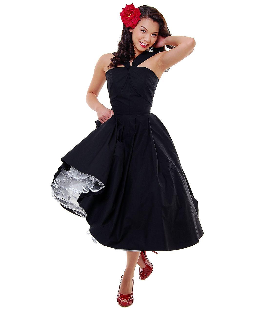 Black dress vintage - Unique Vintage Halter Back To The 50 S Black Cotton Swing Dress Unique Vintage Cocktail