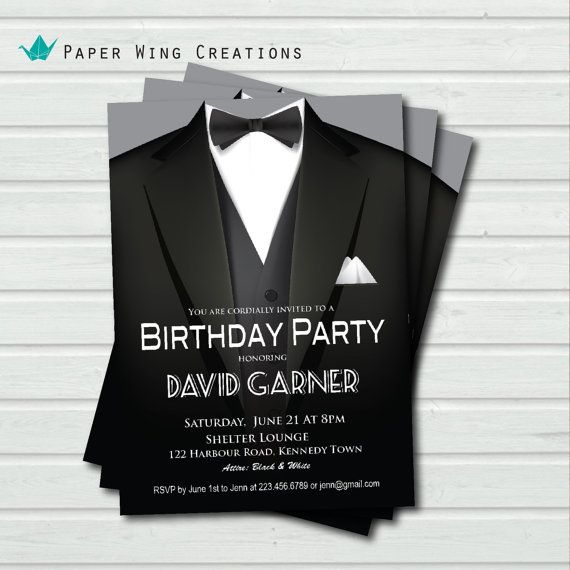 40th Birthday Dinner Ideas: Man Birthday Party Invitation. Black Tie By