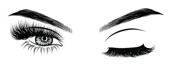 Vector Sexy Winking Luxurious Eye With Perfectly Shaped Eyebrows And Full Lashes Idea For